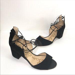 NWOB Sam Edelman suede lace up black heels